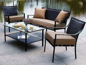 Wonderful Hometrends Braddock Heights 4 Piece Patio Conversation Set Replacement  Cushions